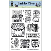 "Hot Off the Press 6"" x 8"" Clear Acrylic Stamps Sheet, Birthday Cheer"