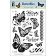 """Hot Off the Press 6"""" x 8"""" Clear Acrylic Stamps Sheet, Butterflies"""