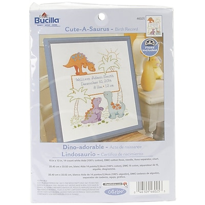 """""Bucilla Cuteasaurus Birth Record Counted Cross Stitch Kit, 10"""""""" x 13"""""""", 14/Pack"""""" 1028361"