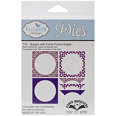 Elizabeth Craft Designs Pop It Up™ Die Set, Square With Circle Frame Edges