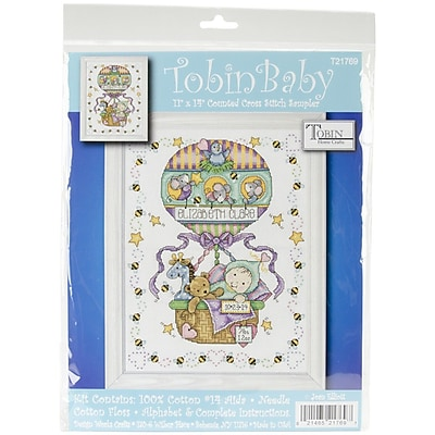 """""Tobin Balloon Ride Birth Record Counted Cross Stitch Kit, 11"""""""" x 14"""""""", 14/Pack"""""" 1028341"