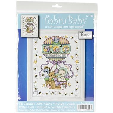 Tobin Balloon Ride Birth Record Counted Cross Stitch Kit, 11