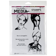 "Tim Holtz® Ranger 6"" x 9"" Media Cling Rubber Stamp, Scribbly Women"
