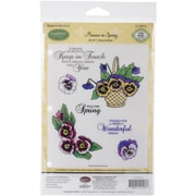 "Justrite® Papercraft 5 1/2"" x 8 1/2"" Cling Stamps Set, Pansies In Spring"