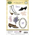 Justrite® Papercraft 5 1/2in. x 8 1/2in. Cling Stamps Set, Shoes Vintage Labels