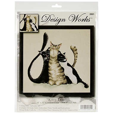Tobin Kitty Trio Counted Cross Stitch Kit, 12