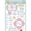 Justrite® Papercraft 6in. x 8in. Clear Stamps Set, Ribbon & Swags Vintage Labels Seven