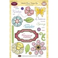Justrite® Papercraft 6in. x 8in. Clear Stamps Set, Stitched Flowers Vintage Tags