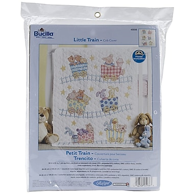 Bucilla® Little Train Crib Cover Stamped Cross Stitch Kit, 34
