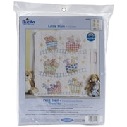 "Bucilla® Little Train Crib Cover Stamped Cross Stitch Kit, 34"" x 43"""
