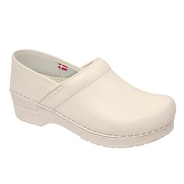Sanita Footwear Leather Women's Professional Celina Clog White, 7.5 - 8
