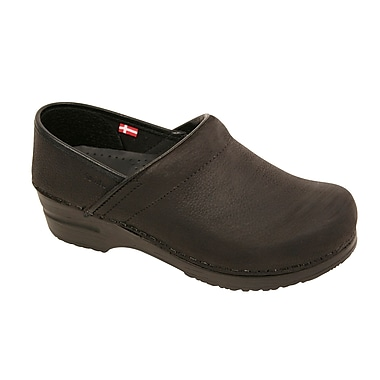 Sanita Footwear Leather Women's Professional Oil Clog Black, 4.5 - 5
