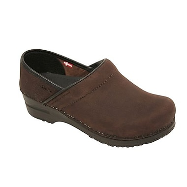 Sanita Footwear Leather Women's Professional Oil Clog Antique Brown, 6.5 - 7