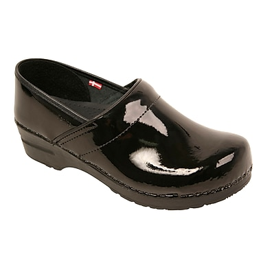 Sanita Footwear Leather Women's Professional San Flex Black Patent, 10.5 - 11