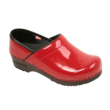 Sanita Footwear Leather Women's Professional San Flex Closed Back Red Patent, 5.5-6