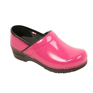 Sanita Footwear Leather Women's Professional San Flex Closed Back Fuschia Patent, 7.5 - 8