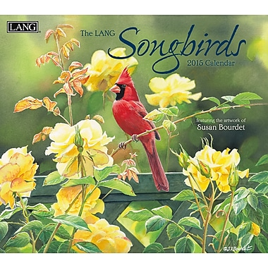 LANG 2015 Monthly Calendar, Songbirds with Saddle Wooden Frame, English