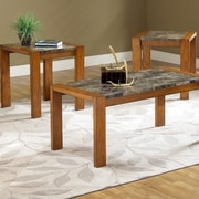 Bernards Faux Marble 3 Piece Coffee Table Set; Cherry