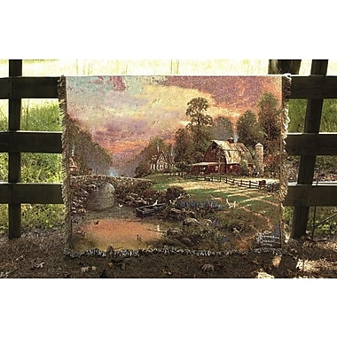Manual Woodworkers & Weavers Sunset at Riverbend Farm Tapestry Cotton Throw
