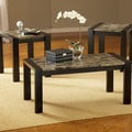 Bernards Faux Marble 3 Piece Coffee Table Set; Black