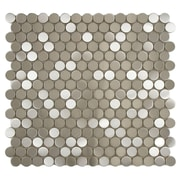EliteTile Vulcan .75'' x .75'' Penny Round Stainless Steel Over Porcelain Mosaic Tile in Silver