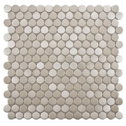 EliteTile Metallic .75'' x .75'' Penny Round Stainless Steel Over Porcelain Mosaic Tile in Silver