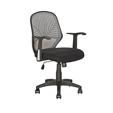 CorLiving LOF-209-O Fabric Desk Chair with Fixed Arms, Black