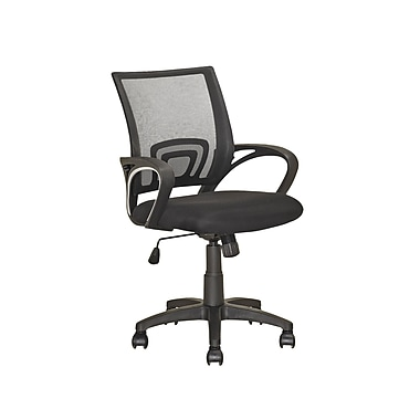 CorLiving Fabric Computer and Desk Office Chair, Fixed Arms, Black (LOF-309-O)
