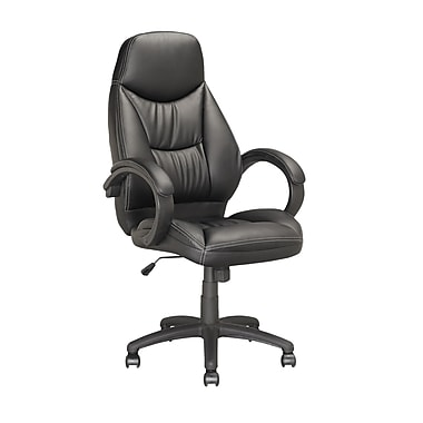 CorLiving Leather Executive Office Chair, Fixed Arms, Black (LOF-508-O)