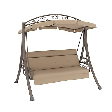 Corliving Nantucket Patio Swing With Arched Canopy, Beige