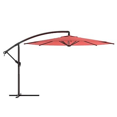 Corliving - Parasol décentré pour terrasse, rouge vin