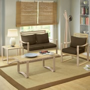 CorLiving™ Aquios Bentwood/Cushion Fabric 5-Piece Living Room Set, Dark Coffee