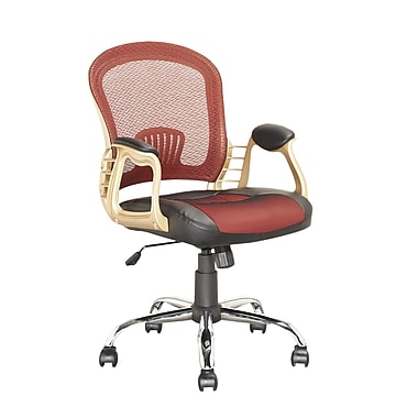 CorLiving LOF-258-O Leatherette Executive Chair with Fixed Arms, Red/Black