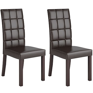 CorLiving DAL-895-C Atwood Dark Brown Leatherette Dining Chairs, Set of 2
