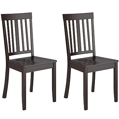 CorLiving DAT-195-C Atwood Cappuccino Stained Dining Chairs, Set of 2