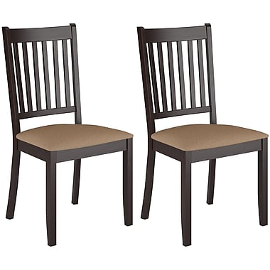 CorLiving DAT-295-C Atwood Cappuccino Stained Dining Chairs with Microfiber Seat, Set of 2
