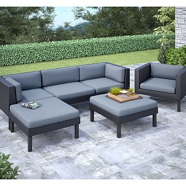 Corliving Oakland 6 Piece Sofa With Chaise Lounge And Chair Patio Set