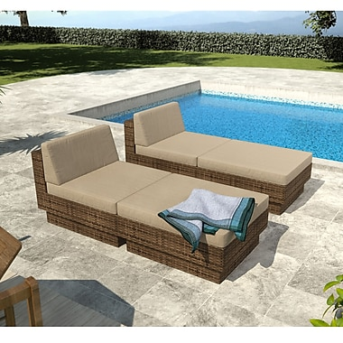 Sonax Park Terrace 4 Piece Lounger Patio Set, Saddle Strap Weave
