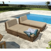 Sonax™ Park Terrace 4-Piece Lounger Patio Set, Coral Sand/Saddle Strap Weave Brown