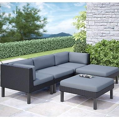 Corliving Oakland 5 Piece Sofa With Chaise Lounge Patio Set