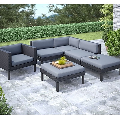 CorLiving Oakland 6-Piece Sectional With Chaise Lounge and Chair Patio Set, Dove Gray/Black 1031191