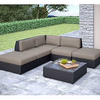 Corliving Seattle Curved 6 Piece Chaise Lounge Sectional Patio Set
