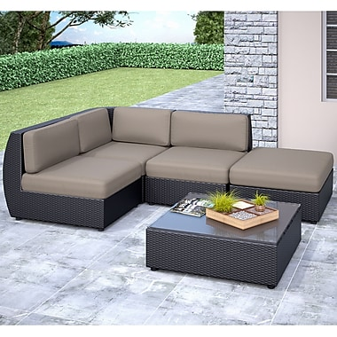 Corliving Seattle Curved 5 Piece With Chaise Lounge Sectional Patio Set