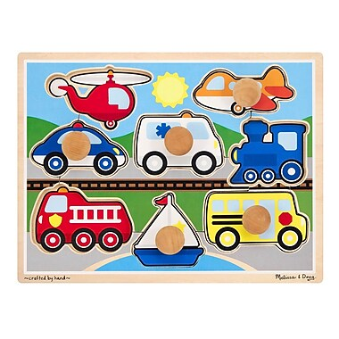 Melissa & Doug 8 Piece Wooden Vehicles Jumbo Knob Puzzle