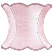Jubilee Collection 13'' Dupioni Silk Hourglass Scallop Lamp Shade; Pink