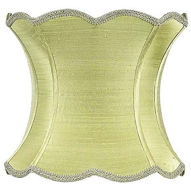 Jubilee Collection 13'' Dupioni Silk Hourglass Scallop Lamp Shade; Green