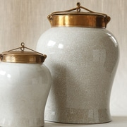 Tozai White Crackle Jar with Lid; Large