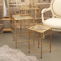 Twos Company Golden Bamboo Antique Mirror Nesting Tables (Set of 3)