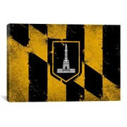 iCanvas Baltimore Flag, Grunge Painted Graphic Art on Canvas; 12'' H x 18'' W x 1.5'' D