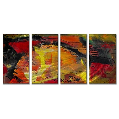 All My Walls 'Ignited' by Ruth Palmer 4 Piece Painting Print Plaque Set